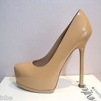 Ysl Yves Saint Laurent Tribtoo 105 Nude Carne Patent Pumps Shoes 38.5 8.5 795 Photo