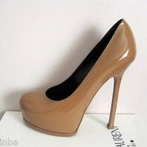 Ysl Yves Saint Laurent Tribtoo 105 Nude Patent Pumps Shoes 39.5 9.5 825 Photo