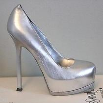 Ysl Yves Saint Laurent Tribtoo 105 Silver Wedding Pumps Shoes 37.5 7.5 825. Photo