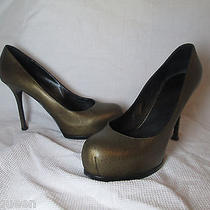 Ysl Yves Saint Laurent Tribtoo Bronze Horse Print Leather Platform Heels 39.5 Photo