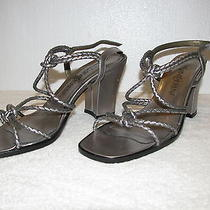 Ysl Yves Saint Laurent Tribute Classic Silver Metallic Sandals 38 8 Worn Once Photo