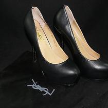 Ysl Yves Saint Laurent Tribute Tribtoo Platform Pump Heel 39 8/8.5 Black Leather Photo