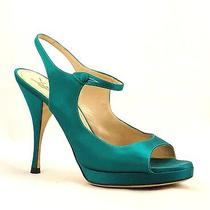 Ysl Yves Saint Laurent Tribute Turquoise Satin Mary Jane Slingback High Heel 8.5 Photo