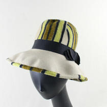 Ysl Yves Saint Laurent Vintage Auth Beige Black Lime Hat Photo