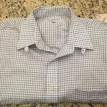 Ysl Yves Saint Laurent White Windowpane Check Button Front Shirt 15.5 32-33 Photo