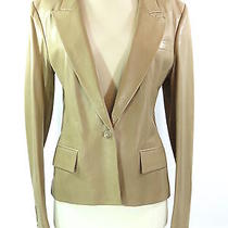 Ysl Yves Saint Laurent Women Beige Leather Fitted Jacket Blazer Coat 1 Button 42 Photo