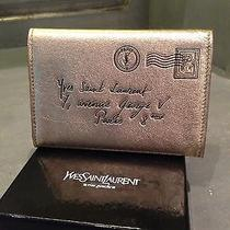 Ysl Yves Saint Laurent Y Mail Gold Wallet- Bnwot Photo