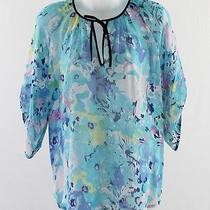 Yumi Kim Aqua Blue Multi Floral Print Silk Tunic Blouse Top Sleeve S Photo