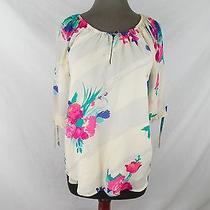 Yumi Kim Becca Silk Peasant Floral Blouse Top Womens M Medium Photo