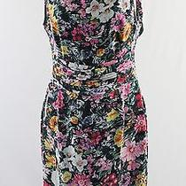 Yumi Kim Black Multi Floral Print Silk Slvls Dress Cut Out Back S Photo