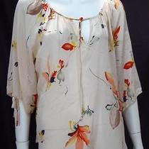 Yumi Kim Blush Print Silk Peasant Top Blouse - Size M  Photo