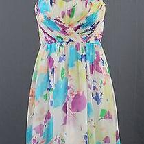 Yumi Kim Ivory Multi Color Silk Strapless Hankerchief Hem Surplice Dress S Photo