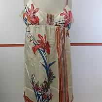 Yumi Kim Ivory Silk Floral Spaghetti Strap Tunic Dress Sz M D355 Photo