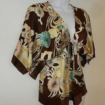 Yumi Kim Silk Print Top Tan/brown/pink & Ivory Size Small Photo