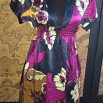 Yumi Kim Size Small Multi Color Floral Short Sleeve 100% Silk Dress Photo