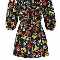 Yumi Kim Womens Romper Black Size Small S Front Tie Floral Print Silk 198- 010 Photo