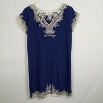 Yumi Kim Womens Shift Dress Size M Blue 100% Silk v Neck Embroidered Trim Short  Photo