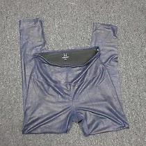 Yummie Tummie Poly Blend Blue Women's Metallic High Waist Leggings Sz L Bb317 Photo