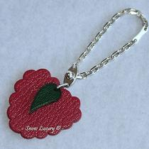 Yummy Hermes Raspberry & Green Leaf Leather & Sterling Silver Bag Charm Keychain Photo