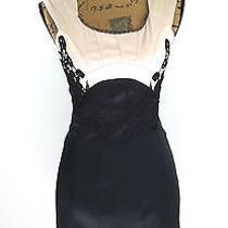 Yuzhongxiehou M 8 Black Beige Blush Empire Crochet Lace Bandage Sheath Dress Ln Photo