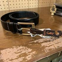 Yves Saint Lauren Men Leather Belt - New Size 38 Black Photo
