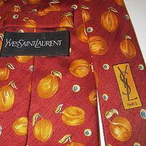 Yves Saint Laurent 100% Silk Autumn Pumpkin Fall Burnt Orange Neck Tie Italy Euc Photo