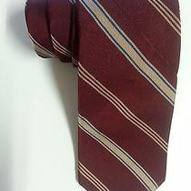 Yves Saint Laurent 100% Silk Men's Burgundy White Striped Tie  Photo