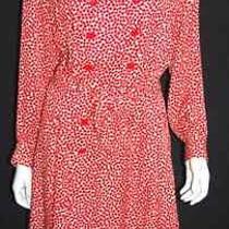 Yves Saint Laurent 1970's Vintage Red Polka Dot Shirt Dress 42 Photo