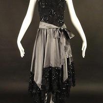 Yves Saint Laurent-1970s Pewter Taffeta & Lace Evening Dress Photo