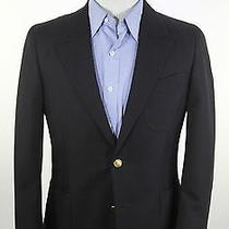 Yves Saint Laurent  2014 Solid Black Cotton Slim Fit 2-Btn Blazer Jacket 38s Photo