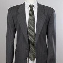 Yves Saint Laurent 40s Gray Stripe Wool 2b Mens Sport Coat Blazer Suit Jacket Photo