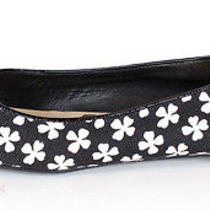 Yves Saint Laurent 485 Black Clover Print Love 05 Ballet Flats 39 Photo