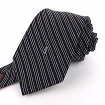 Yves Saint Laurent 55 Short Skinny Navy Yellow White Pink Striped Silk Neck Tie Photo