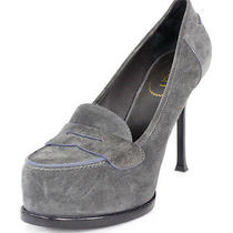Yves Saint Laurent 895 Gray Suede Tribtoo Penny Loafer Pumps 40 Photo