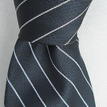 Yves Saint Laurent All Silk Tie Gray & White Stripes With Logo on Front  Photo