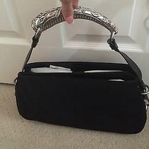 Yves Saint Laurent Bag Handbag Black Suade Silver Horn Leather  Photo