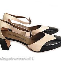 Yves Saint Laurent Black & Nude Genuine Leather Mid-Heels Closed Toe Sandals-Sz9 Photo