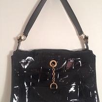 Yves Saint Laurent Black Patent Eel Embossed Leather Bag Handbag Purse Tote Photo
