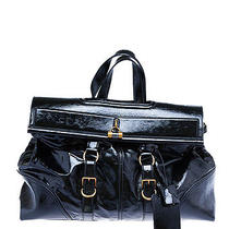 Yves Saint Laurent Black Patent Leather Weekender Duffle Bag Photo