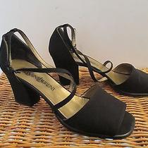 Yves Saint Laurent Black Silk Satin Peau De Soie Open-Toe Ankle Strap Size 7-1/2 Photo