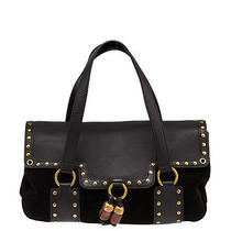 Yves Saint Laurent Black Suede & Leather Studded Satchel Photo