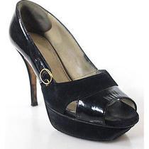 Yves Saint Laurent Black Suede Patent Leather Peep Toe Pumps Sz 35 Photo