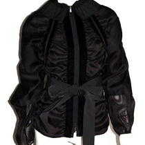 Yves Saint Laurent Black Velvet & Ruched Taffeta Bow Jacket 38 Photo
