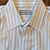 Yves Saint Laurent Blue Brown White Stripe Dress Shirt 15 32-33 Striped Classic Photo