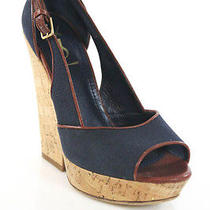 Yves Saint Laurent Blue Tan Canvas Cork Open Toe Wedges Sz 39 9 Photo