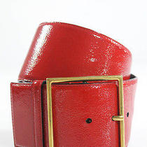 Yves Saint Laurent Bright Red Patent Leather Gold Tone Buckle Solid Print Belt Photo