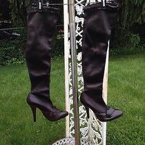 Yves Saint Laurent Brn Leather Over the Knee Boots Sz 38 Photo