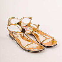 Yves Saint Laurent Bronze Leather T-Strap Flat Sandal - Size 7.5/37.5 Photo