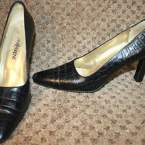 Yves Saint Laurent Brown Croc Leather Pumps Shoes 8 Photo