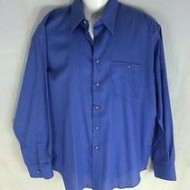 Yves Saint Laurent Button Down Dress Shirt Mens161/2 34-35 Blue Cotton Poly Photo
